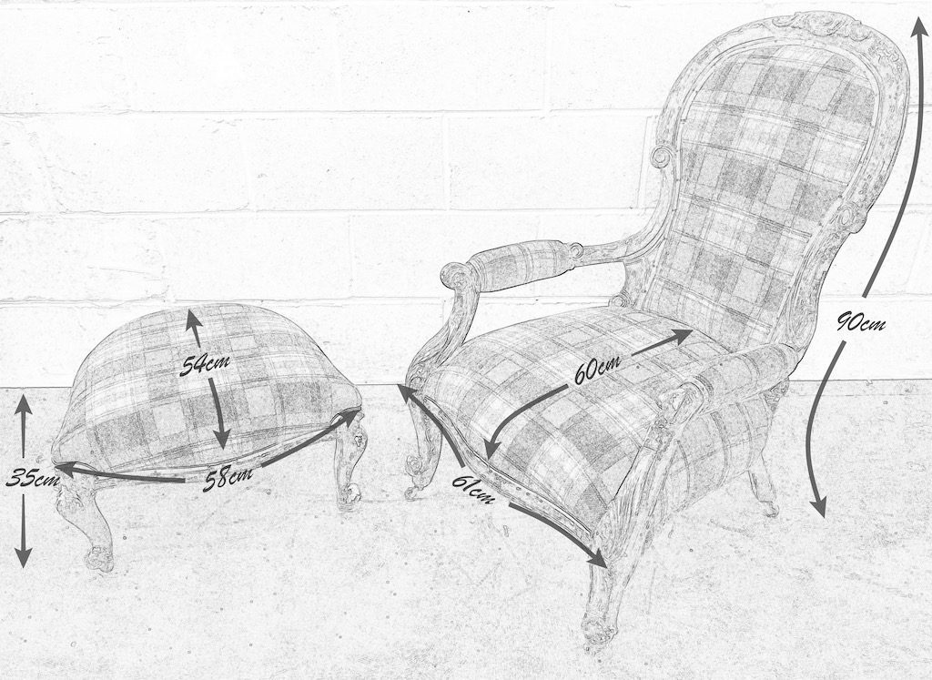 Pencil Drawing of Victorian Gentleman's Chair and Foot Stool with measurements