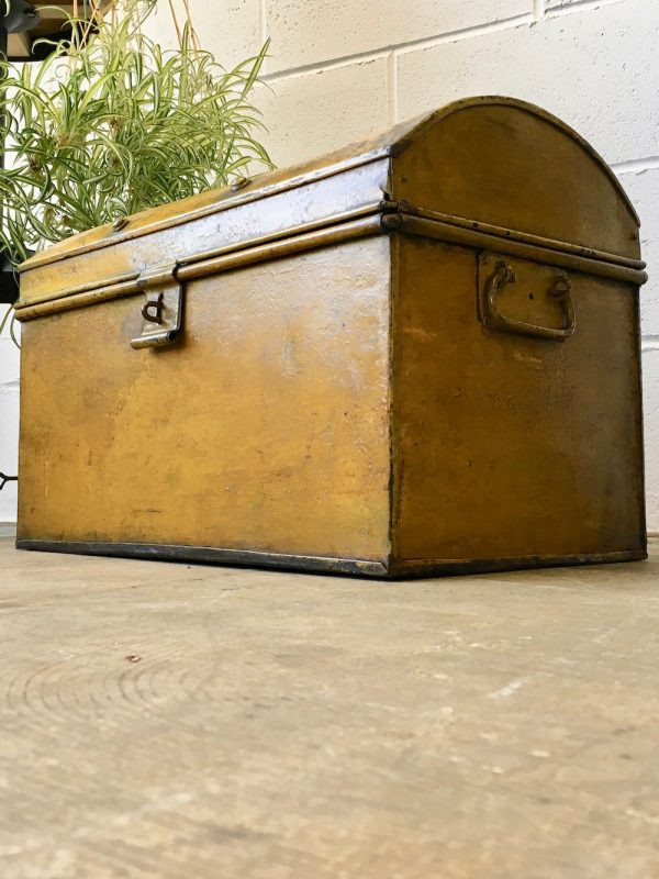 Vintage Rustic Yellow Metal Trunk Chest Storage Box