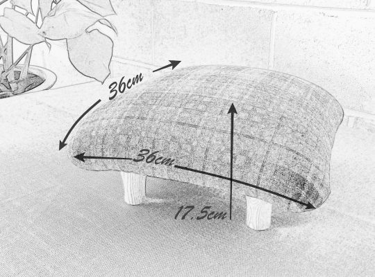 Pencil drawing of Aggie the recycled footstool.