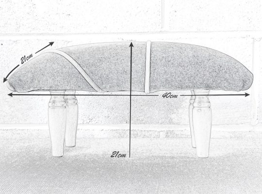 Pencil drawing of Celie the recycled footstool with dimensions