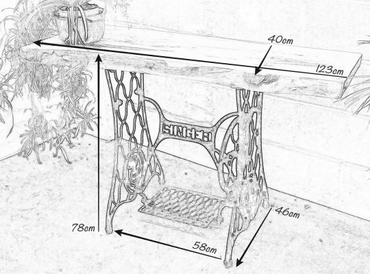 Pencil drawing of a Singer Console Table with dimensions